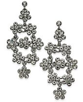 I.N.C. Silver-Tone Pavé Flower Cluster Chandelier Earrings, Created for Macy's