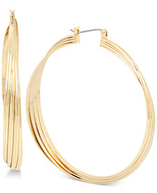 Kenneth Cole New York Gold-Tone Extra-Large Multi-Row Twisted Hoop Earrings