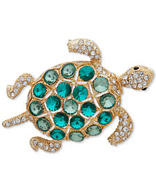 Anne Klein Gold-Tone Multi-Stone Turtle Pin, Created for Macy's