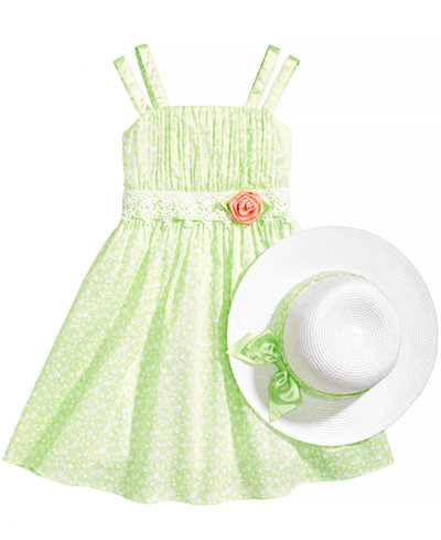 Bonnie Jean 2-Pc. Dot-Print Dress & Hat Set, Little Girls