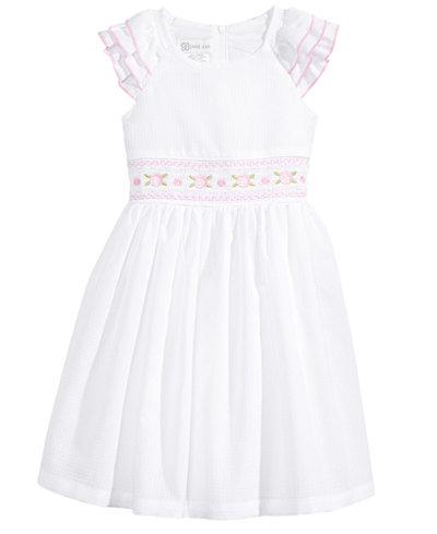 Bonnie Jean Embroidered Smocked-Waist Dress, Little Girls