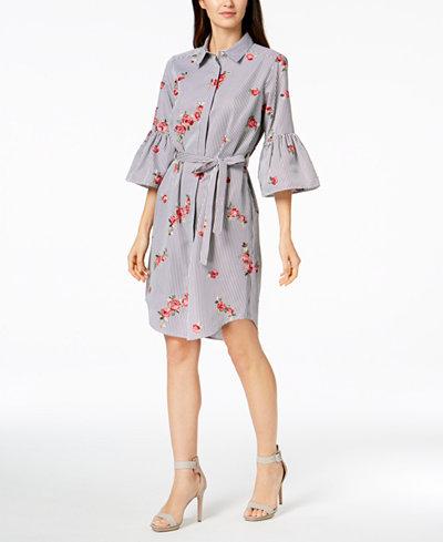 Calvin Klein Embroidered Bell-Sleeve Shirtdress, in Regular & Petite Sizes