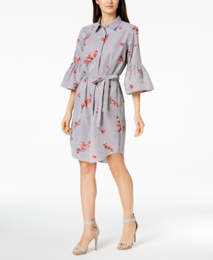 Calvin Klein  PETITE EMBROIDERED BELL-SLEEVE SHIRTDRESS