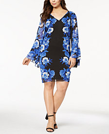 I.N.C. Plus Size Printed Tiered-Sleeve Dress, Created for Macy's