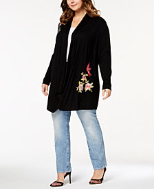 I.N.C. Plus Size Embroidered Cardigan, Created for Macy's