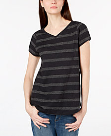 Eileen Fisher Organic Cotton Blend V-Neck Striped T-Shirt, Regular & Petite