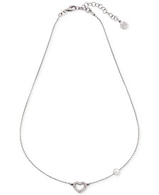 Majorica Cubic Zirconia Heart & Imitation Pearl Collar Necklace
