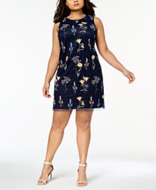 Jessica Howard Plus Size Embroidered Shift Dress