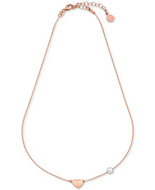 Majorica Imitation Pearl & Heart Charm Collar Necklace