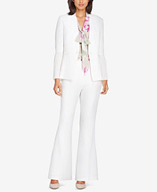 Tahari ASL Pleated-Sleeve Crepe Jacket & Flared Trousers, Regular and Petite