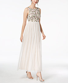 Adrianna Papell Petite Floral-Beaded Gown