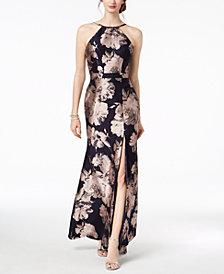 Xscape Jacquard Halter Gown
