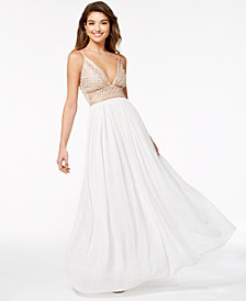 Say Yes to the Prom Juniors' Embellished Tulle-Underlay Gown, Created for Macy's