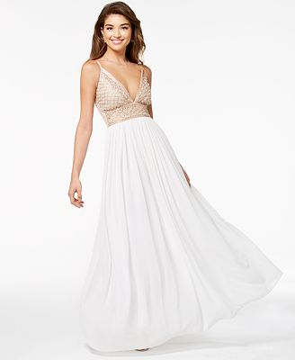 Say Yes To The Prom Juniors Embellished Tulle Underlay Gown