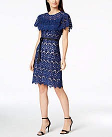 Calvin Klein Ruffled Lace & Ribbon Dress