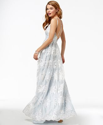Say Yes To The Prom Juniors Embroidered Lace Gown Created For