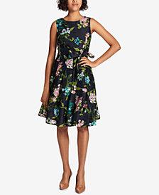 Tommy Hilfiger Floral-Printed Shadow-Stripe Fit & Flare Dress