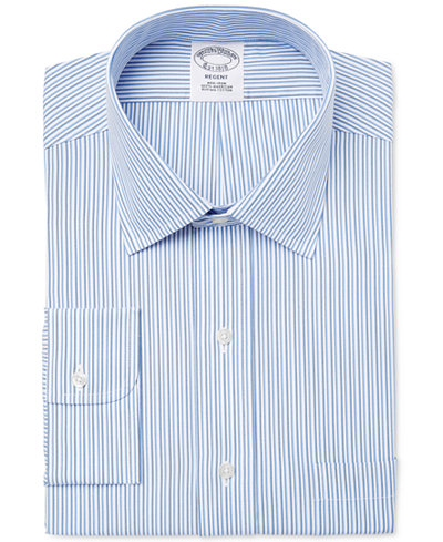 Brooks Brothers Men's Regent Slim-Fit Non-Iron Blue Tonal Stripe Dress Shirt