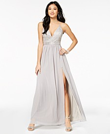 Juniors' Embellished Lace-Bodice Gown
