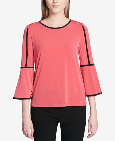 Calvin Klein Contrast-Trim Bell-Sleeve Blouse
