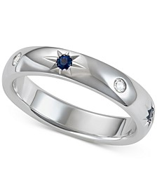 Sapphire (1/5 ct. t.w.) & Diamond (1/10 ct. t.w.) Wedding Band in 18k White Gold, Created for Macy's