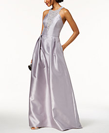 Adrianna Papell Beaded Mikado Satin Gown