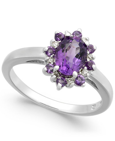 Amethyst (1 ct. t.w.) & Diamond Accent Ring in 14k White Gold