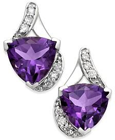 Amethyst (3-1/2 ct. t.w.) & Diamond (1/8 ct. t.w.) Stud Earrings in 14k White Gold