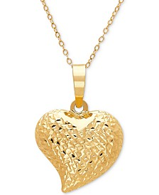 "Textured Puff 17"" Heart Pendant Necklace in 10k Gold"