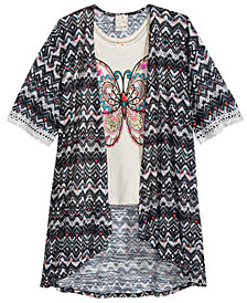 Belle Du Jour 2-Pc. Tank Top & Kimono Set, Big Girls