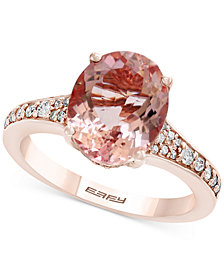 Gemstone Bridal by EFFY® Morganite (3-1/5 ct. t.w.) & Diamond (1/4 ct. t.w.) Ring in 18k Rose Gold