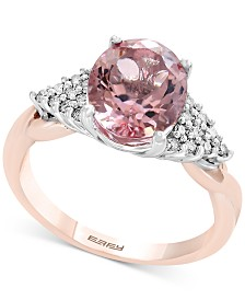 Blush by EFFY® Morganite (2-1/2 ct. t.w.) & Diamond (1/6 ct. t.w.) Ring in 14k Rose Gold