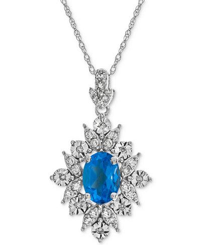 Blue Topaz (1 ct. t.w.) & Diamond (1/5 ct. t.w.) Pendant Necklace in 14k White Gold