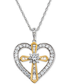 Lab-Created White Sapphire Heart & Cross Pendant Necklace (5/8 ct. t.w.) in 14K Gold Plated over Sterling Silver