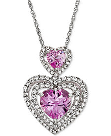 Lab-Created Pink Sapphire (1-9/10 ct. t.w.) & White Sapphire (3/4 ct. t.w.) Double Heart Pendant Necklace in Sterling Silver
