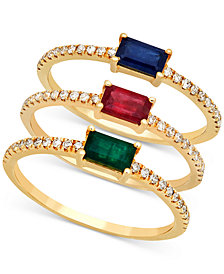 Emerald (1/3 ct. t.w.) & Diamond (1/3 ct. t.w.) Stackable Ring in 14k Gold