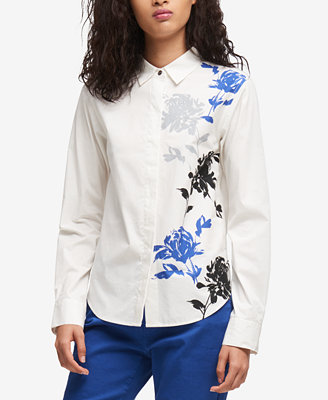 Floral Print High Low Shirt, Created For Macy's by Dkny