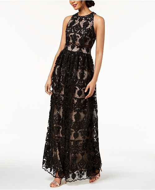 ec2d7c70d48 Betsy   Adam Embroidered Lace Illusion Gown  Betsy   Adam Embroidered Lace  Illusion ...