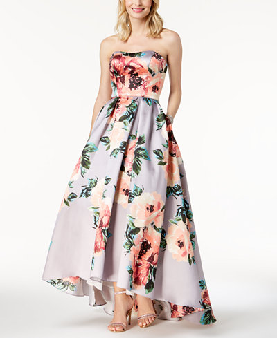 Betsy & Adam Floral-Print Strapless Ballgown