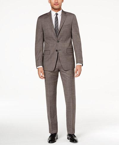 Calvin Klein Men's Slim-Fit Charcoal Neat Suit