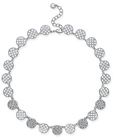 "Charter Club Silver-Tone Openwork & Pavé Disc Collar Necklace, 18"" + 2"" extender, Created for Macy's"