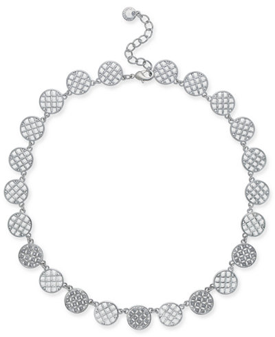 Charter Club Silver-Tone Openwork & Pavé Disc Collar Necklace, 18