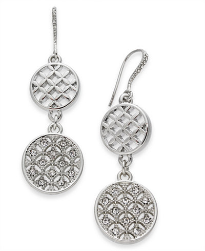 Charter Club Silver-Tone Pavé Double Drop Earrings, Created For Macy's