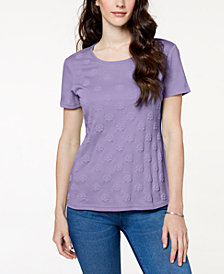 Karen Scott Petite Puff-Printed Top, Created for Macy's