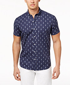 Con.Struct Men's Stretch Sailboat-Print Shirt, Created for Macy's