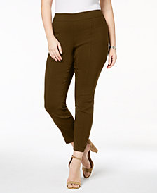 Style & Co Plus Size Skinny Seamed Pull-On Pants, Created for Macy's