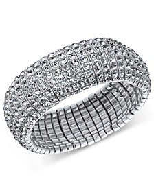 INC Silver-Tone Crystal Stretch Bracelet, Created for Macy's