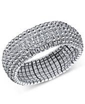 I.N.C. Silver-Tone Crystal Stretch Bracelet, Created for Macy's