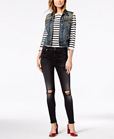 7 For All Mankind Aubrey Ripped Skinny Ankle Jeans