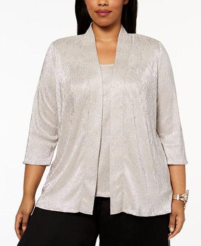 Alex Evenings Plus Size Metallic Crinkle Jacket & Shell